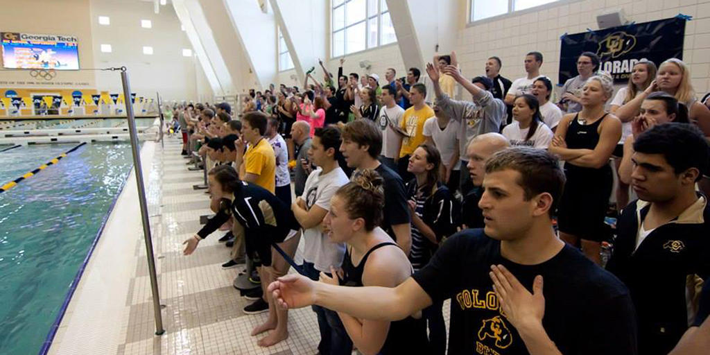 CU Swim Team cheering